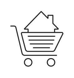 shopping cart with house inside linear icon vector image