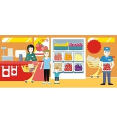 Shopping in Grocery Store Concept vector image