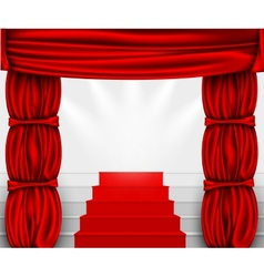 silk curtain with columns and stairs to the podium vector image