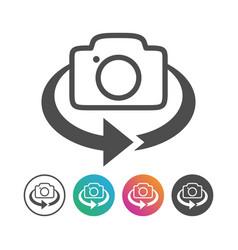 Simple camera 360 flip icon design set vector