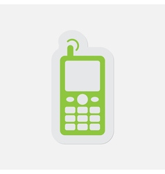 Simple green icon - old mobile phone with antenna vector