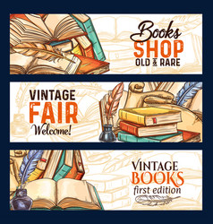 Sketch banners of old rare vintage books vector