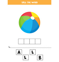 Spelling game for kids colorful toy ball vector