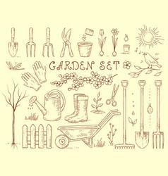 Spring set of garden equipment vector