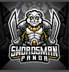 swordsman panda esport mascot logo design vector image