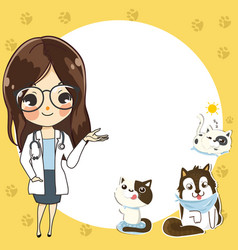 Template for a veterinary clinic with a doctor vector