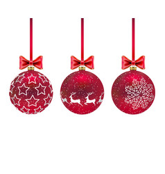 three christmas balls with and bows on white vector image