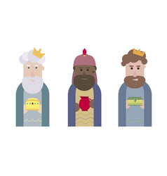 three wisemen cartoons icon epiphany day holy vector image