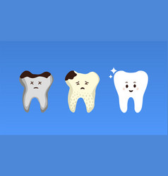 Tooth treatment stages flat poster vector