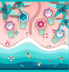 top view of tropic summer beach with ocean vector image