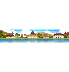 Traditional korea palace landscape south korean vector