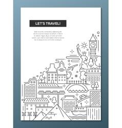 Travel composition - line flat design banner vector image