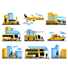 Traveling People Isolated Decorative Icons Set vector