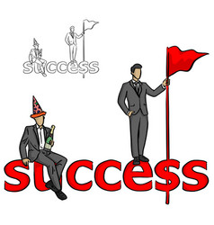 two businessmen with champagne and red flag on vector image