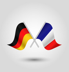 Two crossed german and french flags on silver vector
