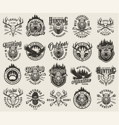 vintage monochrome hunting emblems set vector image