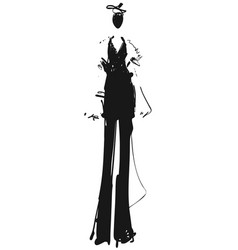 Woman in a black suit fashion models sketch vector