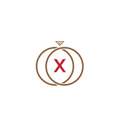 X letter ring diamond logo vector
