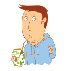 young man drink milk vector image