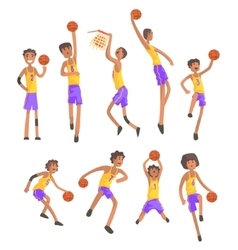 Basketball Players Of Same Team Action Stickers vector image