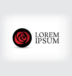 black circle red rose curve logo design template vector image vector image