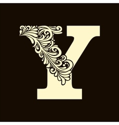 Elegant capital letter Y in the style Baroque vector image