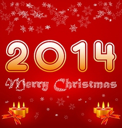 greeting card with the inscription 2014 Merry vector image