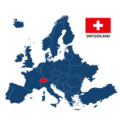 Map of europe with highlighted switzerland vector