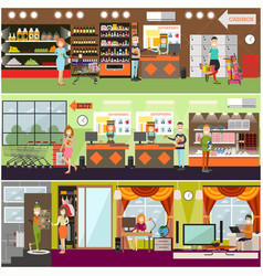 people making purchases flat poster set vector image vector image