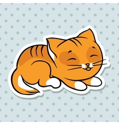 Red cute funny cat sleep vector image