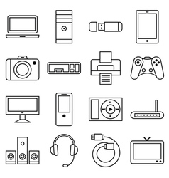 Set of linear icons computer and other equipment vector image vector image