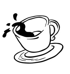 simple black and white coffee cup spill vector image vector image
