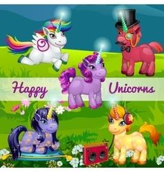 Unusual cartoon unicorns in a meadow vector image