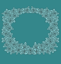vintage frame with garden roses on light mint vector image vector image