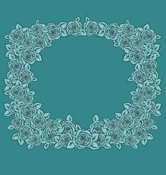 Vintage frame with garden roses on light mint vector