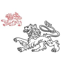 Vintage medieval lion silhouette vector image
