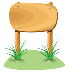 wooden element and grass vector image