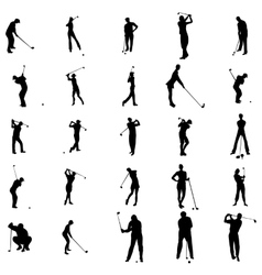 Golfer silhouette set icons simple style vector image vector image