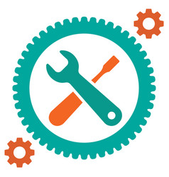 service tool icons with gear and spanner vector image vector image