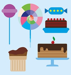 Sweets card with chocolate cream cakes vector image vector image