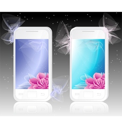 Two white mobile phones with flowers Background vector image vector image