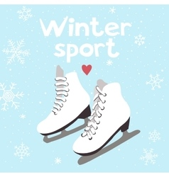 Winter card with ice skates vector image vector image