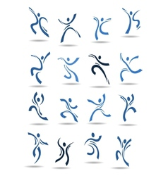 Abstract silhouettes of dancing people vector