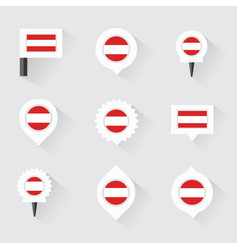 austria flag and pins for infographic and map vector image vector image