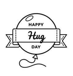 happy hug day greeting emblem vector image