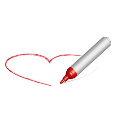 red felt-tip and heart vector image