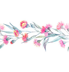 watercolor eucalyptus stripe vector image