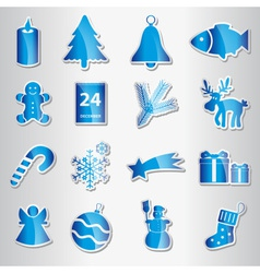 christmas blue shiny stickers collection eps10 vector image vector image