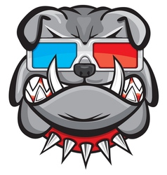 Dog with 3d glasses vector image