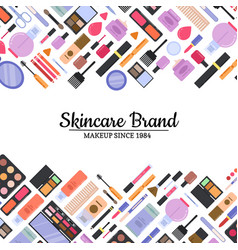 flat style makeup and skincare background vector image